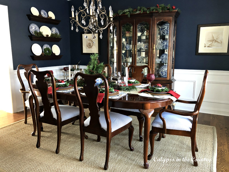 Navy Dining Room decorated for the holidays