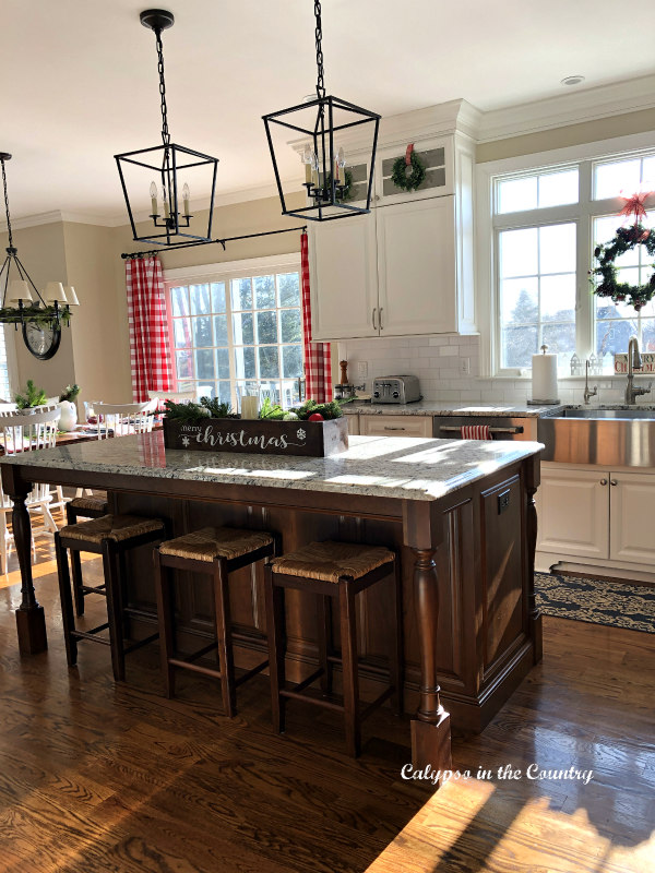 Farmhouse Style Christmas kitchen