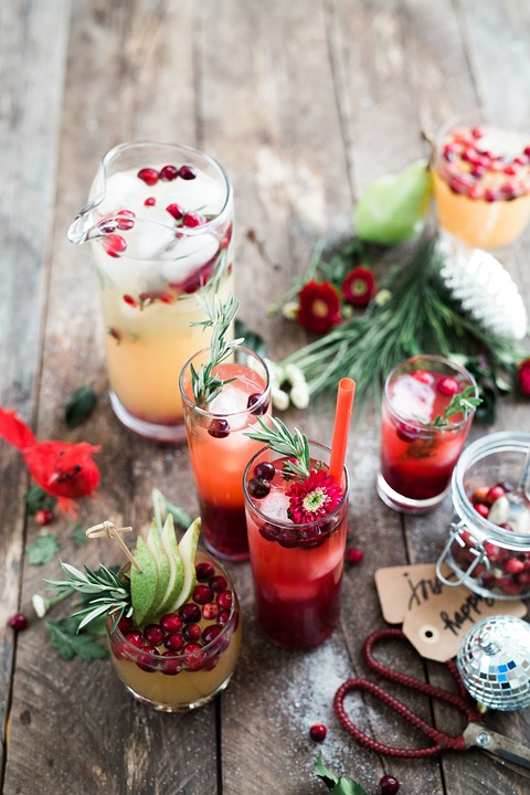 Christmas fruit juice cocktails