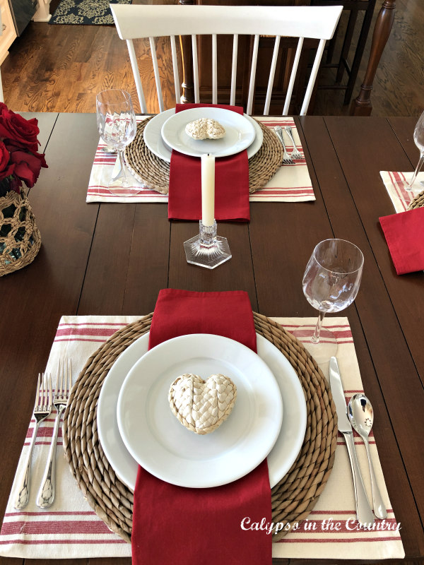 Red and White table setting for Valentine's Day