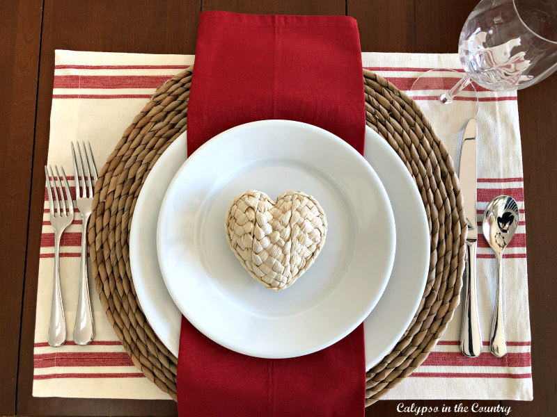 Valentine's Day Place Setting with seagrass heart