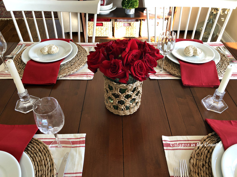 Simple Valentine's Day Tablescape with Red Roses