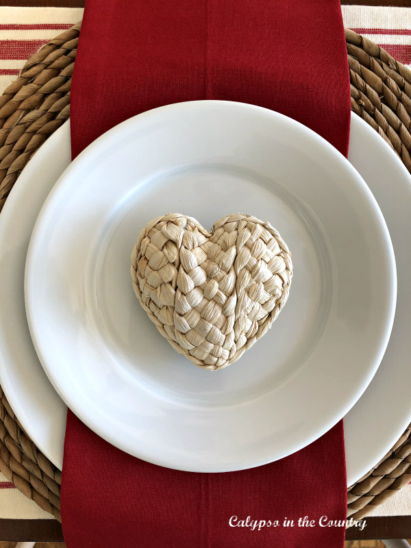 Valentine's Day Place Setting with Red Napkin and Seagrass heart