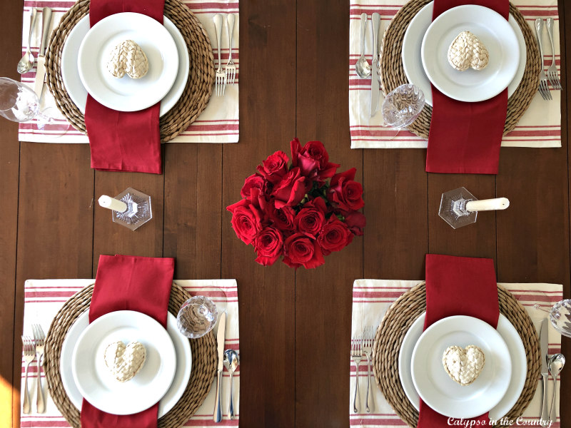 Valentine's Day Tablescape with Red
