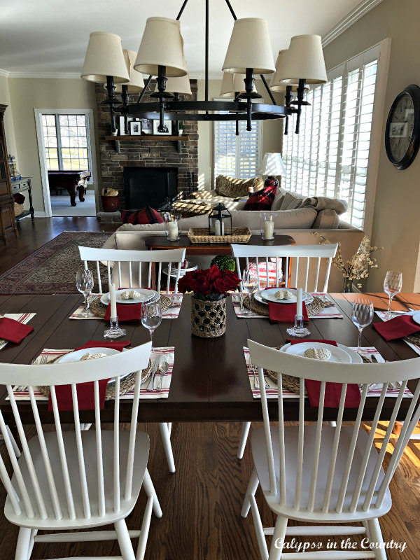 Valentine's Day table in open concept kitchen