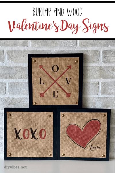 burlap valentine signs