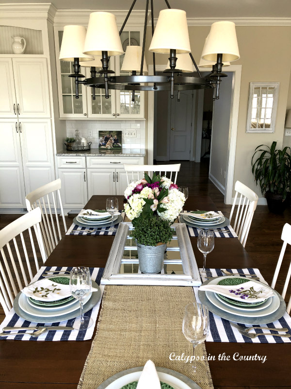 Spring tablescape in white kitchen
