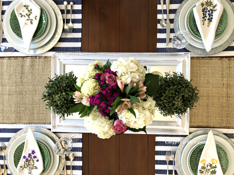 spring tablescape from above