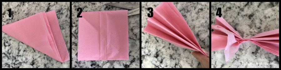 steps to make a pink tissue paper flower