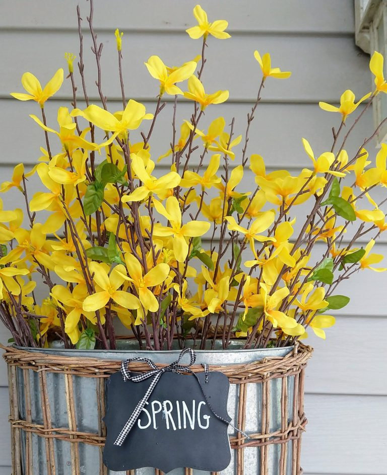 Yellow flowers on spring front porch