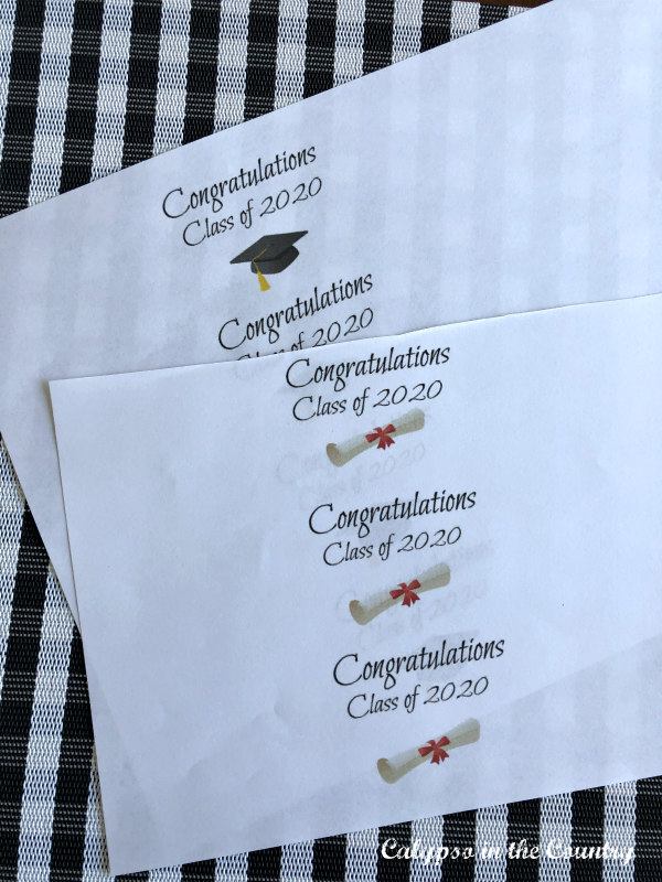 Graduation printouts for easy DIY napkin rings