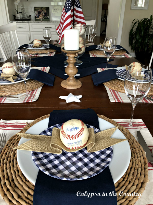 Red white and blue baseball themed tablesetting