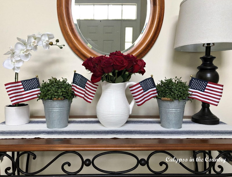 4th of July vignette in the foyer