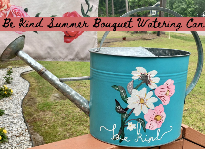Blue Painted Watering Can - summer break projects