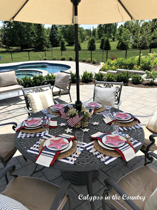 Patriotic tablescape on the patio decorated for the 4th of July