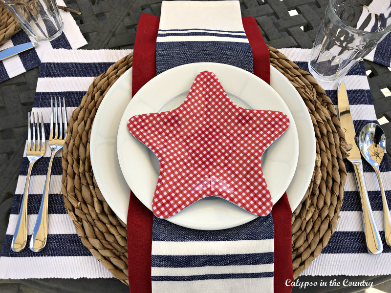 Patriotic Place Setting on patio table