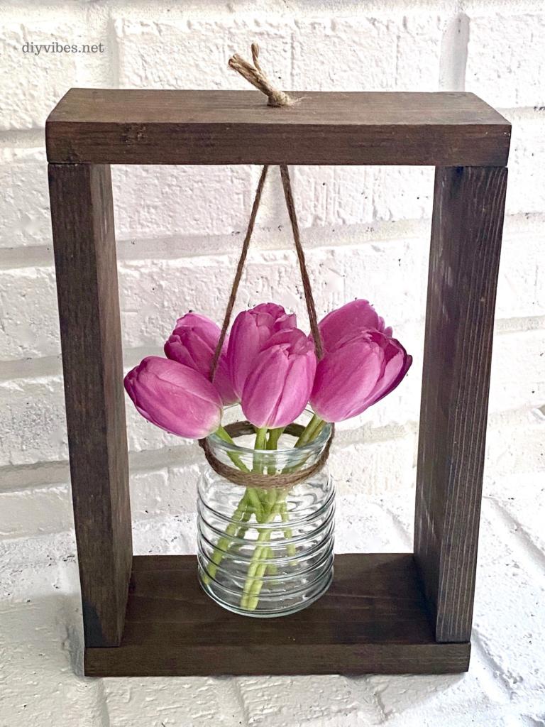 Wood Framed Flower Vase feature