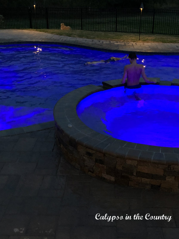 Summer Nights with changing pool lights