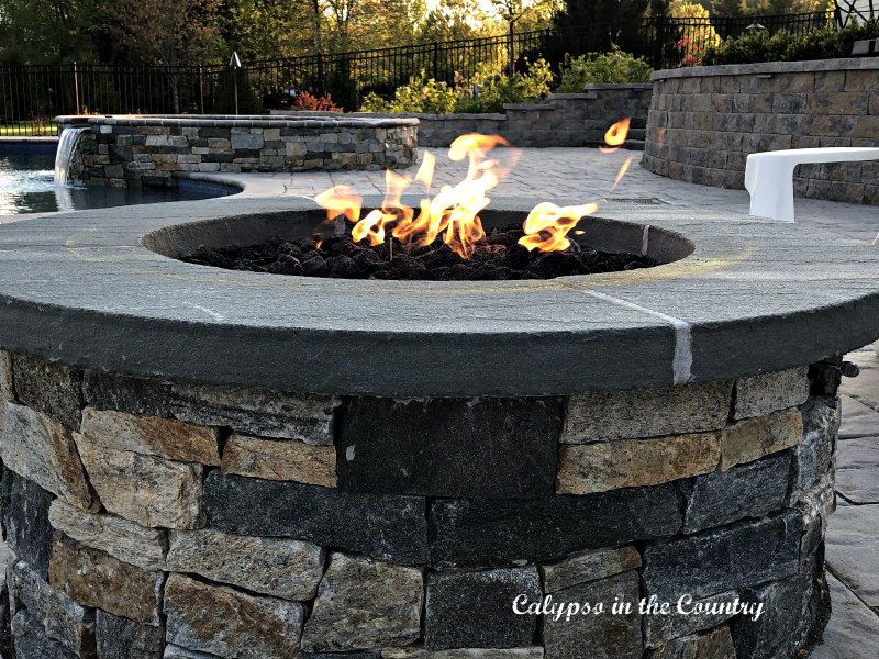 firepit and summer entertaining on the patio