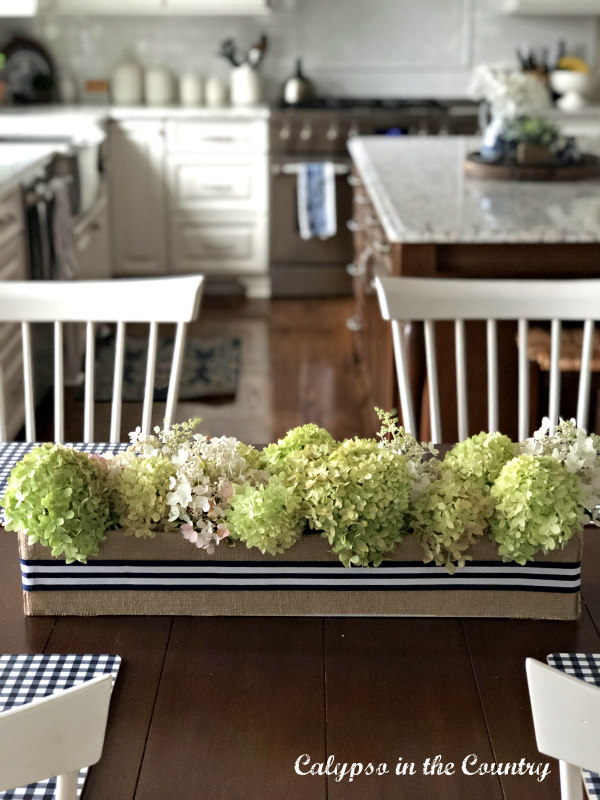 DIY Flower box centerpiece with hydrangeas