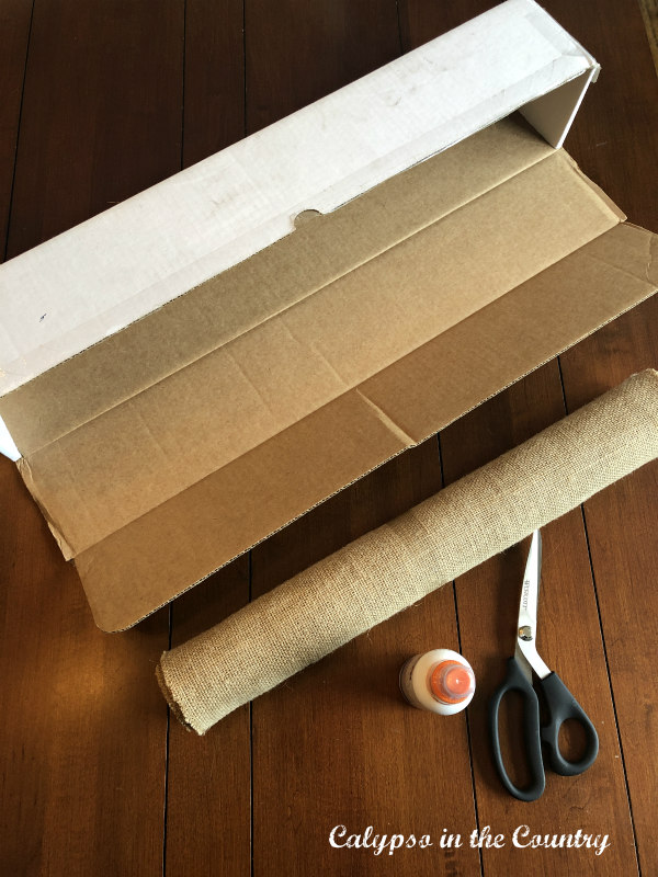 Cardboard box and supplies for DIY Flower Box centerpiece