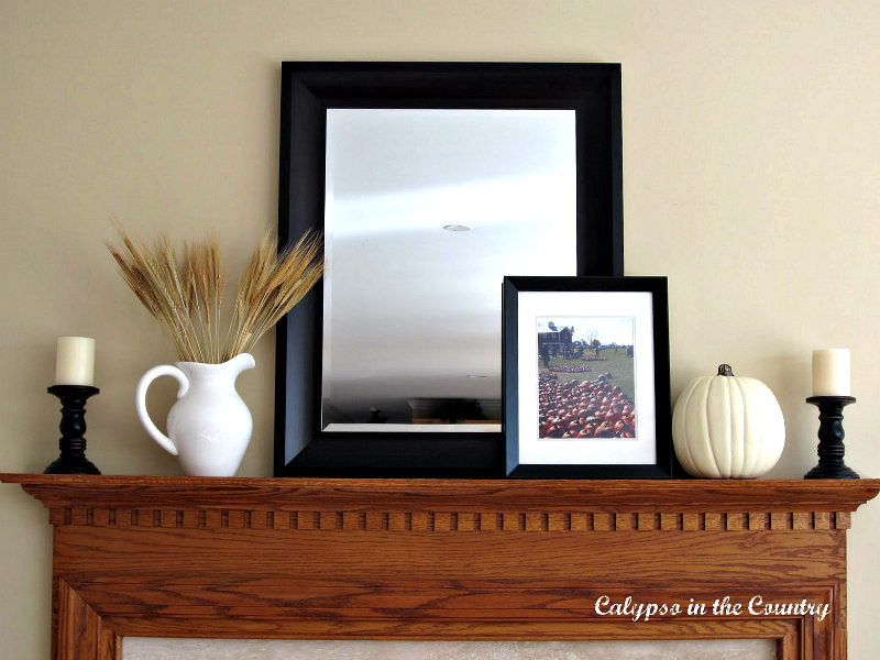 Black and White Fall Mantel with Leaning Mirror