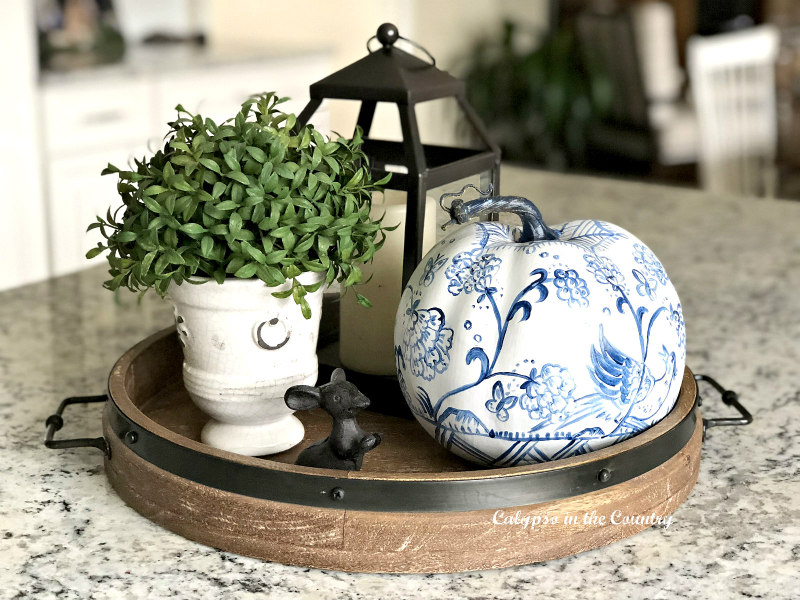 Blue and white pumpkin on wood tray vignette - Affordable Fall Decor Ideas