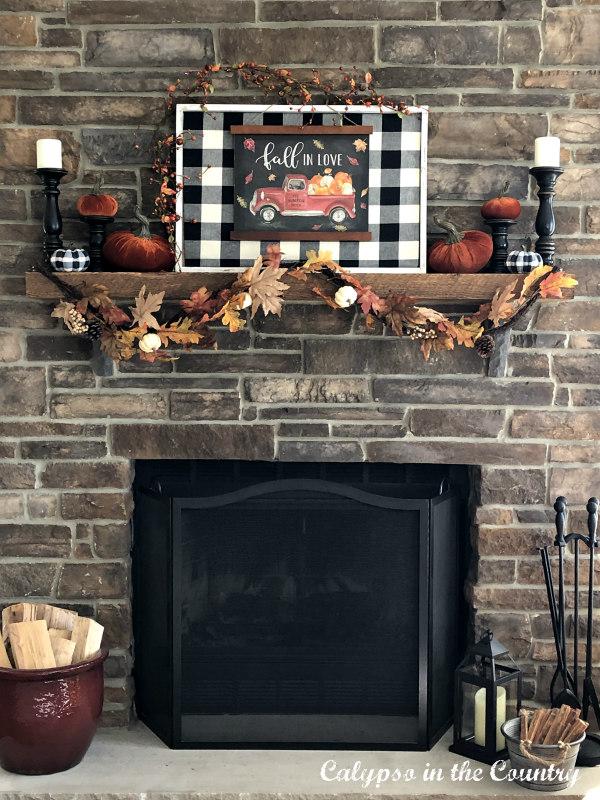 Rustic Stone Fireplace with Buffalo Check Fall Decor