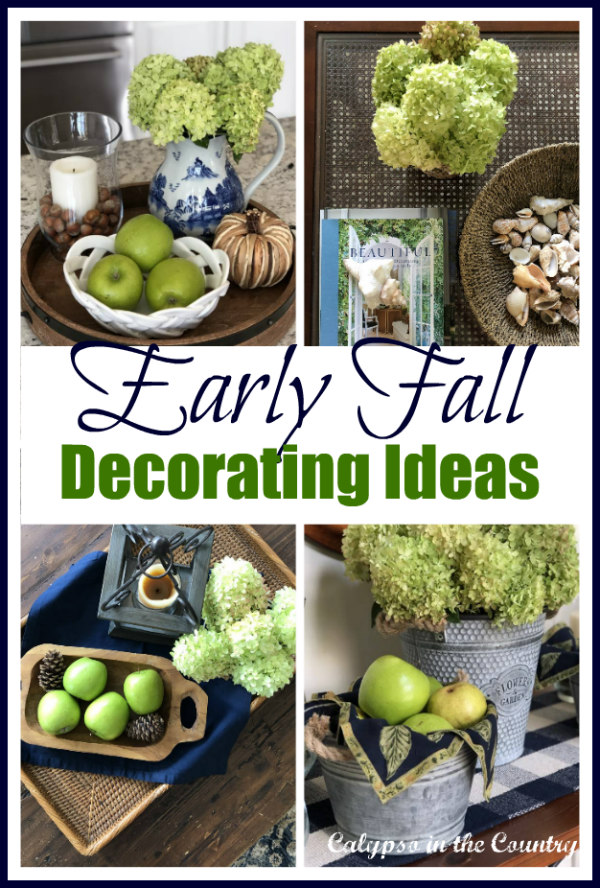 Early Fall Decorating Ideas with Hydrangeas and Apples