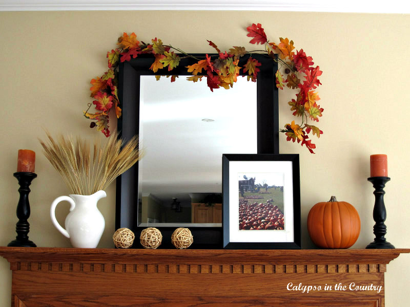 Fall Mantel with Leaning Mirror