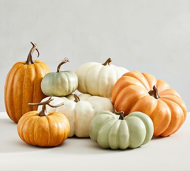 Faux pumpkins for fall decor