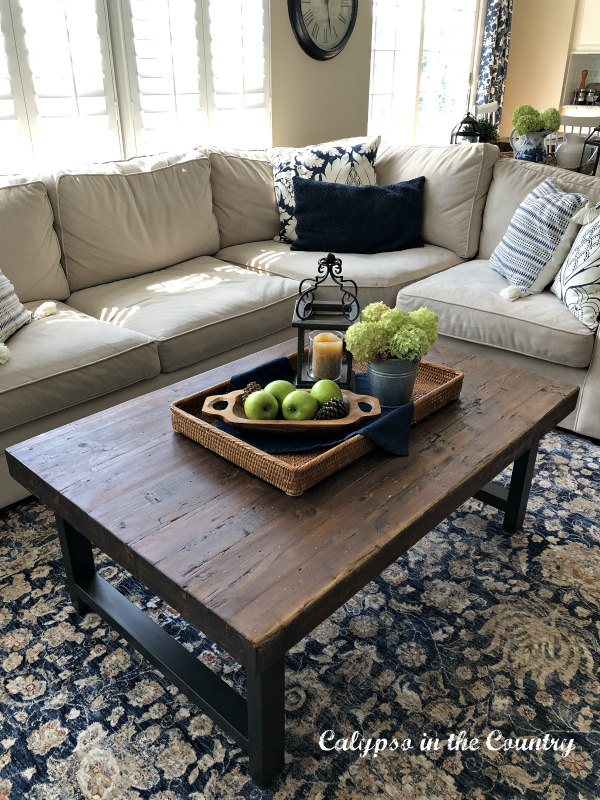 Rattan tray on family room coffee table