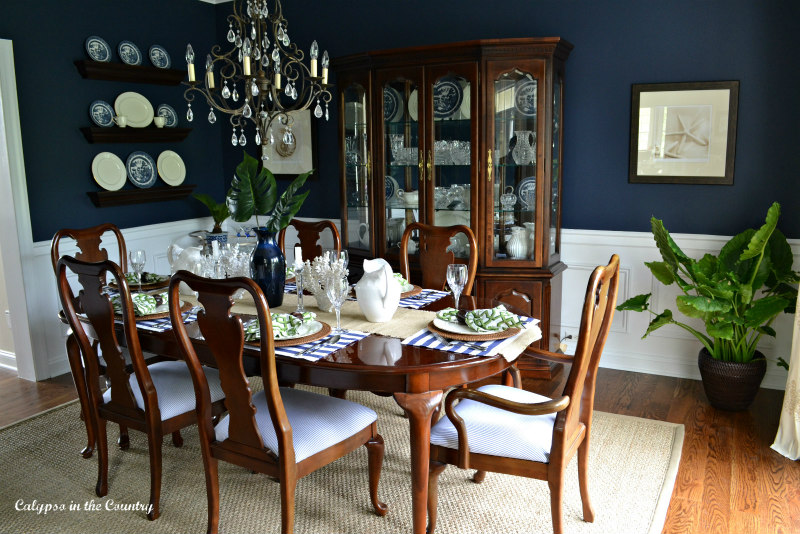 Sherwin williams Naval Dining Room decorated for spring