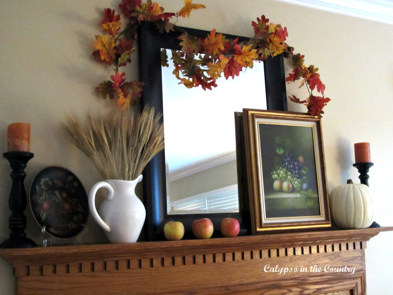 Fall Decorating Ideas for an Oak Fireplace Mantel