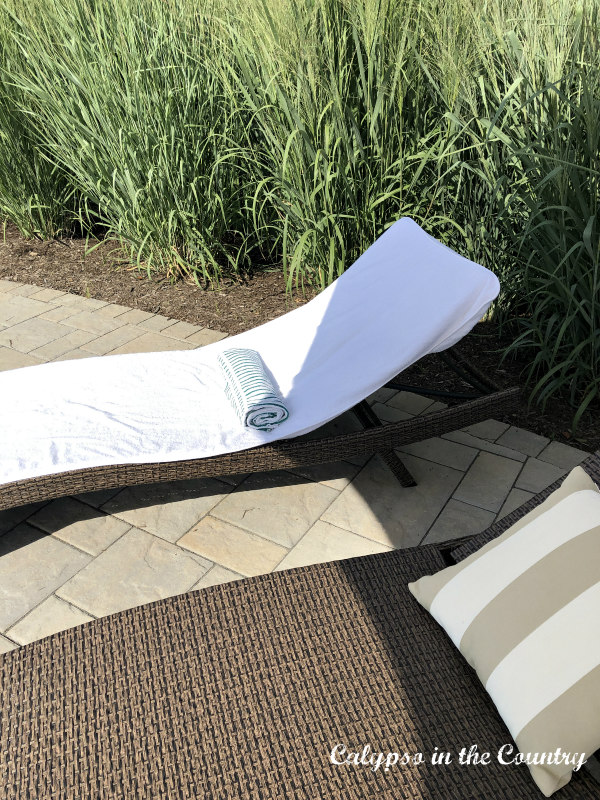 Chaise lounge chairs by the pool