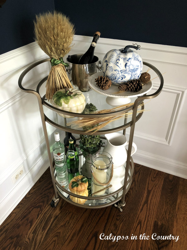 Autumn Decor on a bar cart