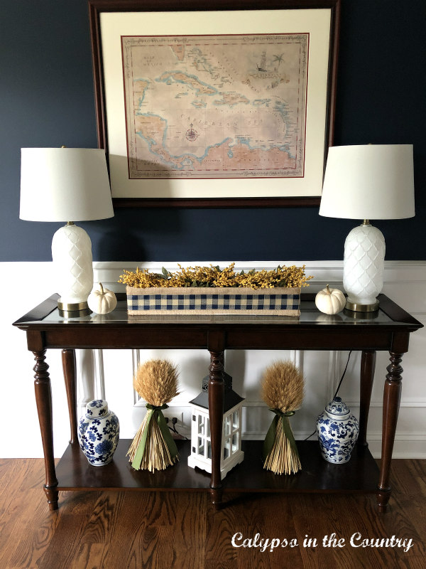Autumn Decorating in Navy Dining Room