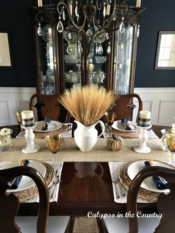 Wheat in White Pitcher Centerpiece for dining room table