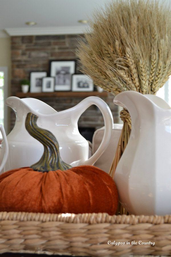 Fall vignette with wheat and velvet pumpkin - Happy Fall ideas