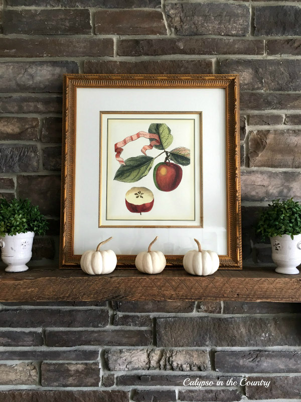 Apple print and white pumpkins to celebrate fall on the mantel