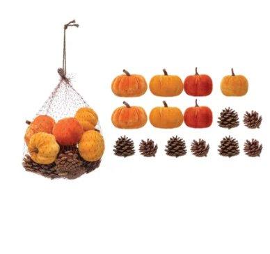 velvet pumpkins and pine cones - affordable fall decor