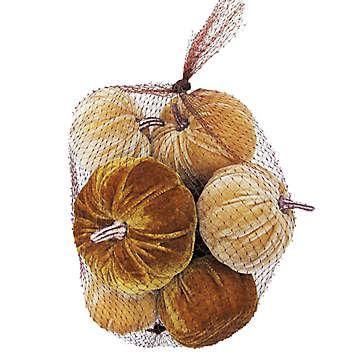 Bag of mini velvet pumpkins - affordable fall decor