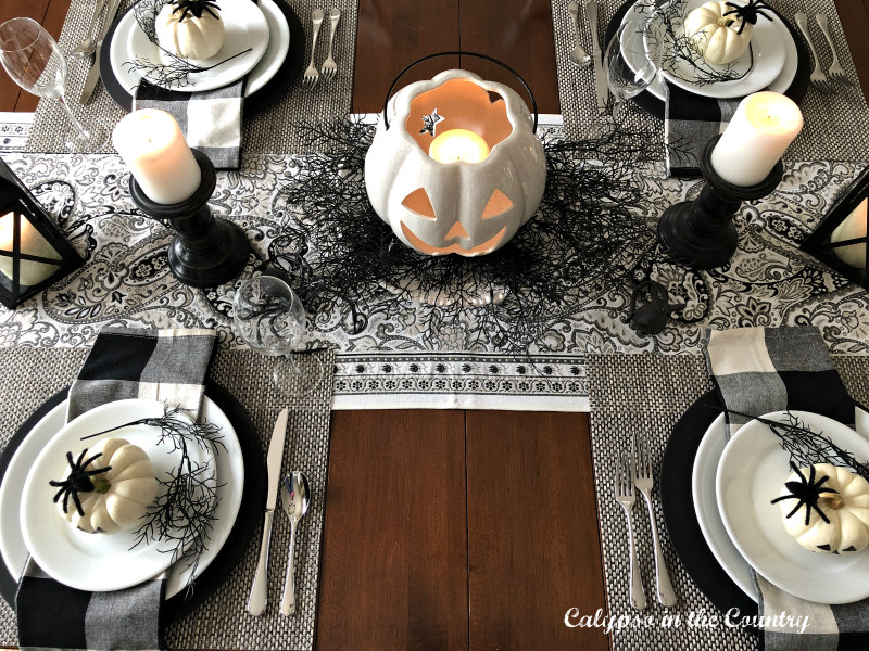 Black and White Halloween Table Setting