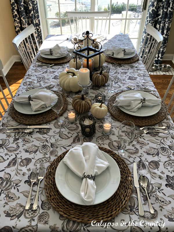 Top view of neutral Thanksgiving Table - simple decor ideas