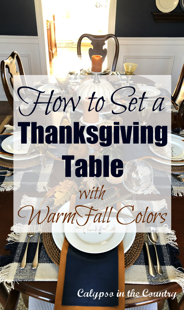 How to Set Thanksgiving Table with Warm Fall Colors and Navy