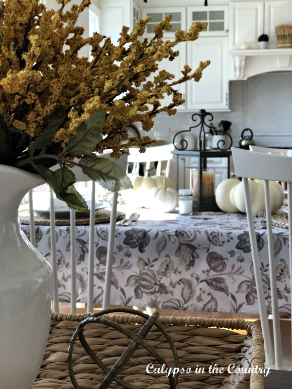 View of Thanksgiving Table in White Kitchen