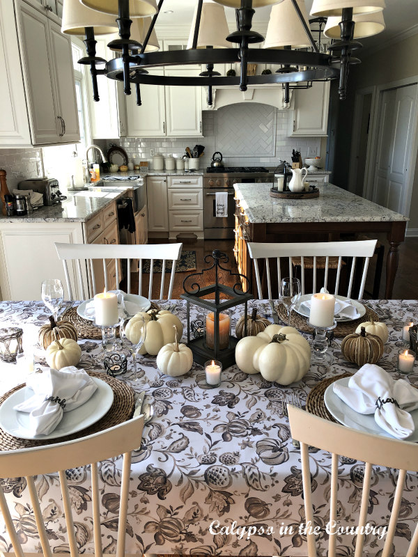 Neutral Patterned Tablecloth on Table Set for Thanksgiving