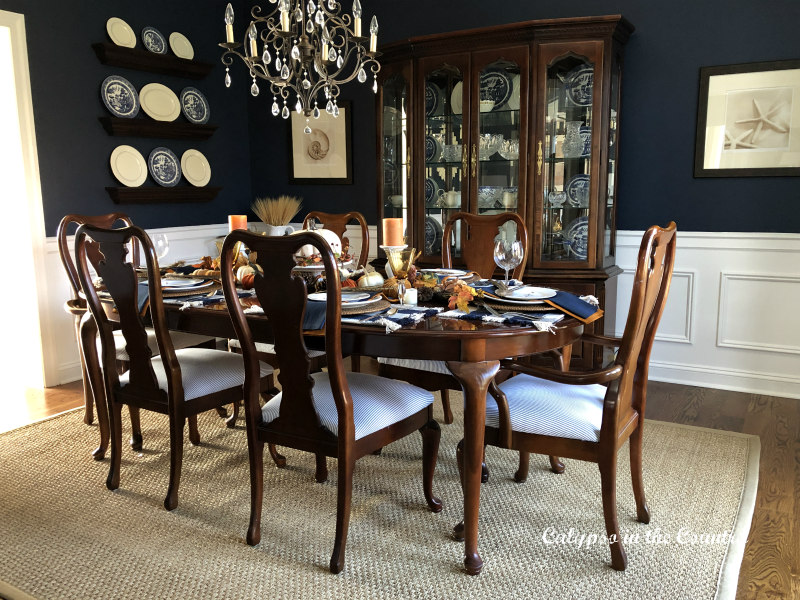 Cherry Furniture in Navy Dining Room