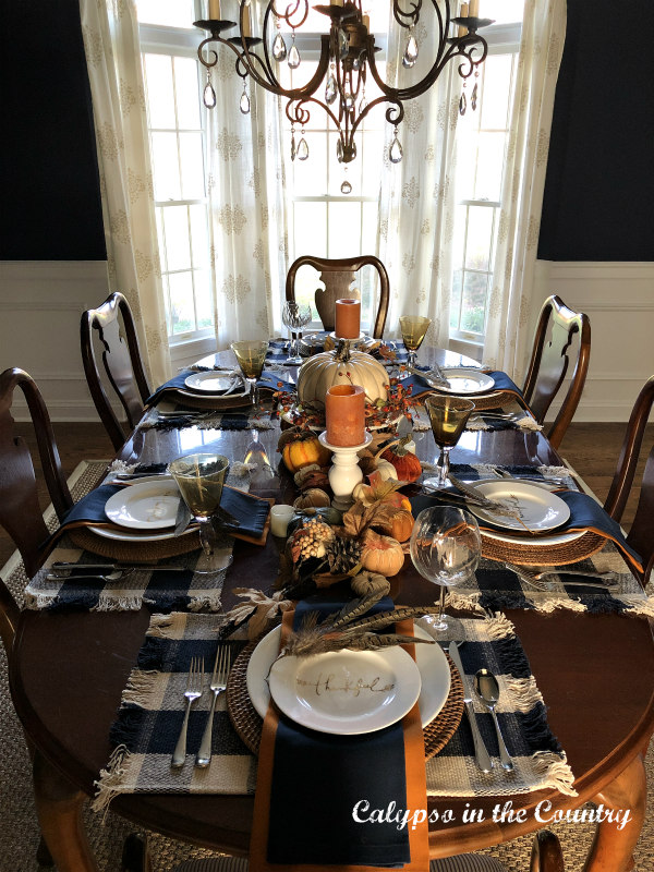 Thanksgiving Table with blue and white buffalo check placemats