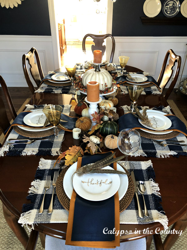 Top view of Thanksgiving Table with Navy Buffalo Checked Placemats - How to Set Thanksgiving Table